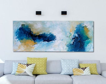 ORIGINAL ABSTRACT Painting Large 150 x 76 cm Blue Abstract Canvas Painting 60 inch LARGE Landscape Art Blue Abstract Original Art