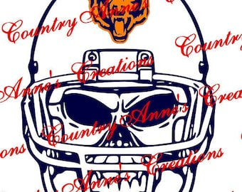 "SVG PNG DXF Cut file for Silhouette, Cricut, Pazzles, ScanNCut  -""Skull with Helmet Bears""  svg- can do any team and all file formats"
