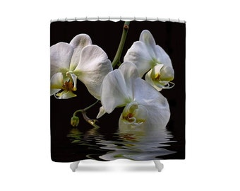 Shower Curtain, Orchid Decor, White Orchids, Gift for Mom, Flower Bathroom, Womans Gift, Gift for Her, Black and White, Bathroom Decor