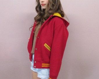 Vintage Letterman's Jacket//80s/90s wool sports jacket leather sleeves cropped hoodie deep red preppy collegiate hipster/see measurements