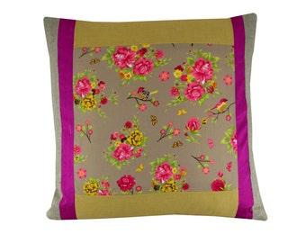 Linen bird cushion cover, Bird pillow cover 43 x 43cm