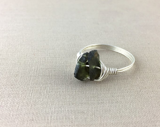 Green Tourmaline Ring // raw tourmaline ring, wire wrapped ring, raw crystal ring, raw gemstone ring, jewelry under 25, rough tourmaline