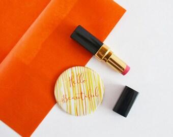 Stripe 'Hello Beautiful' Pocket Mirror