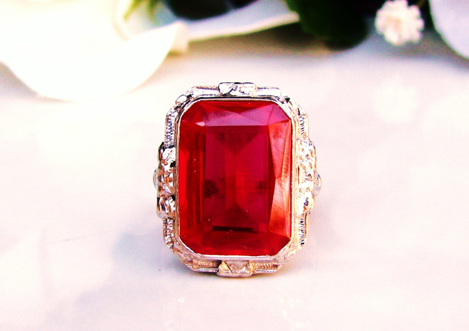 Vintage Emerald Cut Ruby Ring 14 00ct Synthetic Ruby