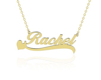 Any Name Necklace Heart Underline Gold Plated 925 Sterling Silver Personalized Jewelry Handmade Costomized