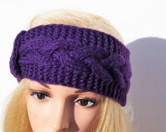Dark Purple Ear Warmer,Knitted Winter Headband ,Knit Crochet Headband, Ear Warmer, Crochet Headband,Purple Headband,Knit Turban Headband