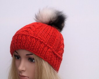 Red Hat,100 % Wool, Winter Cap,Womans Hat , Natural Fur Pompon,Hat Fur Pom Pom,Hand Knitted Hat,Handmade Cap,Winter Hat