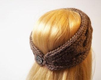 Brown Knitting Winter Headband ,Wool Ear Warmer ,Handmade Ear Warmer,Wool  Turban ,Women Ear Warmer, Winter Headband,Handmade Headband