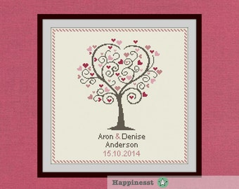 Wedding cross stitch pattern, love tree, customizable, modern pattern, wedding anniversary PDF, DIY ** instant download**
