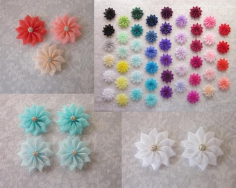 Small Organza Flower 55 Colors, 8mm Silver Rhinestone, Hair Clip, Barrette, Shoe Clips, Wedding Accessory, Bridesmaids, Flower Girl, Toddler