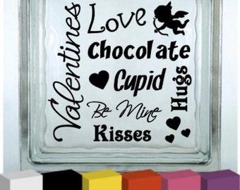 Valentines Day Wording Vinyl Glass Block / Photo Frame Decal / Sticker/ Graphic