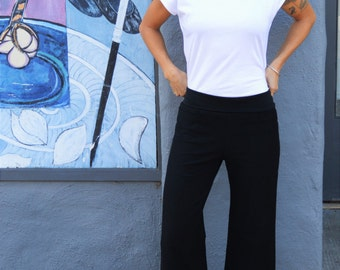 Organic french cotton terry wide leg pants - perfect pocket pants - super soft gaucho pants with pockets
