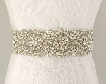 "2 Inches Sash-2"" Bridal Sash-2"" Rhinestone Sash-2 Inch Wedding Sash-2 Inches Bride Belt-2 Beaded Sash-2"" Rhinestones Pearls Bridal Sash"