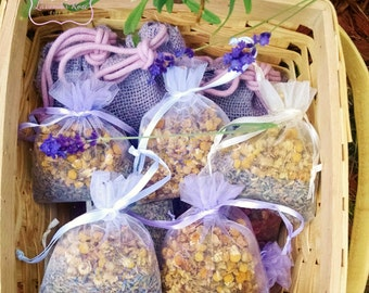 12 Botancial Sachet 3x4 Organza Favors. Your Choice: Lavender-Rose petal, Lavender Chamomile, or Herbal Potpourri