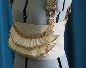 Steampunk Explorer Underbust Corset Top in Linen Cotton Custom Size