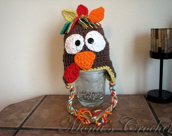 Hand Crocheted Turkey Hat With Ear Flaps   Crochet Earflap Hat   Crochet Baby Hat   Turkey Hat   Thanksgiving Hat - Size 0 to 3 Months