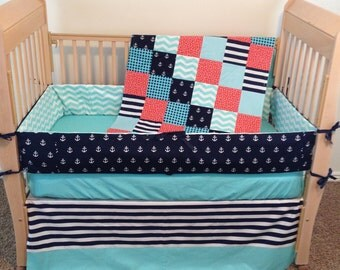 Nautical Baby Bedding - Baby Crib Bedding - Baby Bedding - Anchor Baby Bedding - Custom Crib Bedding - Crib Bedding - Custom Baby Bedding