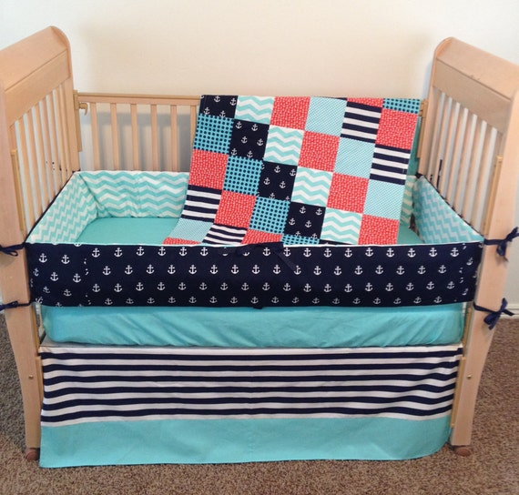 Nautical Infant Bedding: Nautical Baby Bedding Baby Crib Bedding By SewSweetBabyDesigns