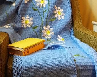 Vintage Crochet Throw Blanket, Blue & Green Afghan, Daisies