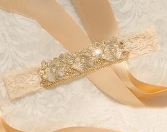 Wedding Garter, Bridal Garter, Bling Garter, Kundan Lace Garter, Gold Lace Garter, Gold Bridal Garter- DEVIN GARTER
