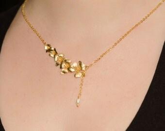 Bridal Necklace, Wedding Necklace, Gold Flower Necklace, Gold Pearl Lariat Necklace, Necklace Set, Bridesmaid Necklace- MARGARET