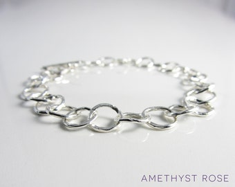 Forged Silver Bracelet ~ Hammered Sterling Silver Chain Bracelet ~ Handmade Chain
