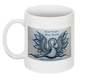"Mug - Male swan from the serie ""Ugly Ducklings/BLue swans"""