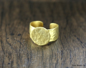 2 Pieces Adjustable Ring Blank, (20 mm blank) 24K Gold Plated Brass - BRG008