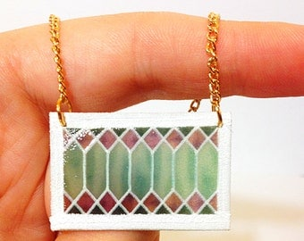 Stained Glass Transom Window Necklace in Seafoam Green and Lavendar – New Orleans Architectural Detail Jewelry