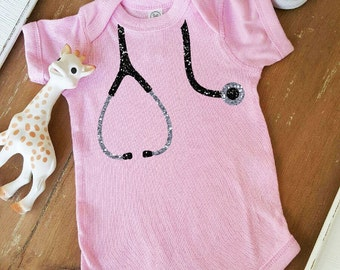 Baby Girl Clothes Nurse Doctor Stethoscope Shirt Sparkle Shirt Baby Shower Gift Bodysuit Baby Girl Shirt Sparkle Shirt Glitter Shirt Gift