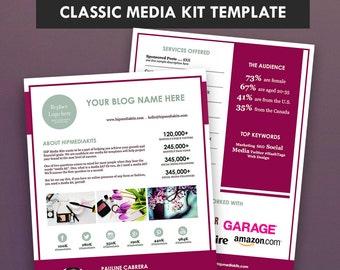 Classic Blog Media Kit + Ad Rate Sheet -  Press Kit -  Pitch Kit - Blog Sponsorship (2 Pages)