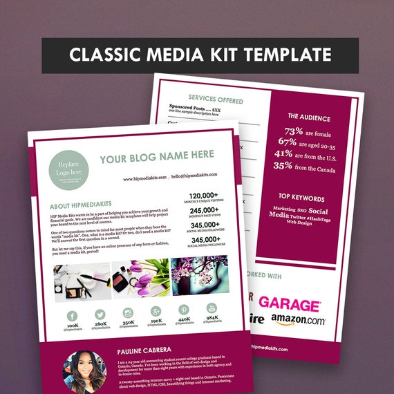Classic blog media kit ad rate sheet press kit pitch for Advertising media kit template