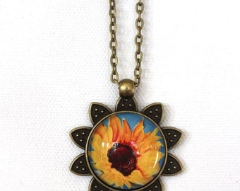 Sunflower Yellow Flower Floral Necklace Antique Brass Finish Pendant Necklace