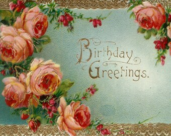 Vintage floral roses birthday greetings postcard digital download printable instant image