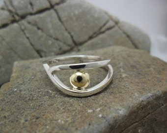 Ring in sterling silver and yellow gold 14K