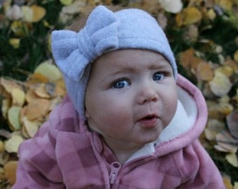 Light Gray Turban with Bow, Baby Headwrap Baby Bow Baby girl Turban Baby Winter Headband Baby Ear Warmers