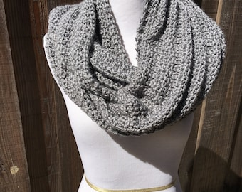 Gray Textured Infinity Scarf; Gray Textured Circle Scarf; Winter Circle Scarf; Winter Infinity Scarf; Gray Scarf;