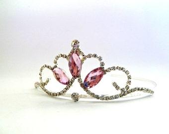 PRINCESS CROWN ,Pink Birthday Crown, Birthday Tiara,Rhinestone Toddler Crown ,Toddler Tiara,Flowers Girls Wedding Tiara,Ballet Tiara