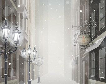 4x5 Snowy Christmas Streetlights and Buildings Backdrop / Christmas Photo Booth Backdrop - 4x5 ft (FV9081)