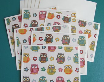 Owl Note cards-set of 6,Blank cards-fun stationery sets,all occasion card sets,greeting cards,thank you card sets,Handmade/Homemade cards