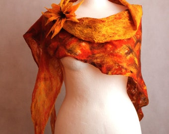 felted scarf cobweb shawl, felted capelet, sunset orange brown yellow scarf openwork, art scarf wrap whit flower brooch