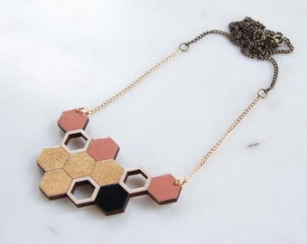 Beehive, honeycomb, wooden necklace, black gold and antique pink, laser cut lime wood, hand painted jewelry, long necklace
