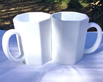 Vintage French made Arcoroc Octime White Coffee Mugs Cups Glass Octagon Set of 2