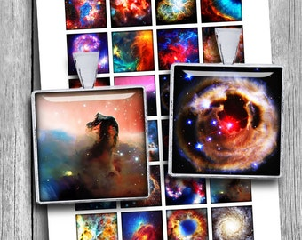 "Nebula Printable Squares  1x1"" 0.75x0.83"" 1.5x1.5"" for Pendants Scrabble tile images Digital Collage Sheet - Instant Download"