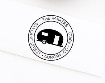 Camper Return Address Stamp, Camping Stamp, Personalized Return Address Stamp, Wedding Address Stamp, Custom Stamp, Address Stamp No. 107
