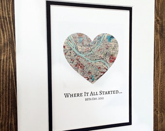 Where It All Started - Unique Map Gift For Best Friends - Friends Forever Birthday Present- Best Friends Forever Gift - BFF Present
