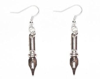 Fountain Pen Earrings   Silver Fountain Pen Charm Earrings   Pen Jewellery   Writer's Gift Idea   Calligraphy Earrings