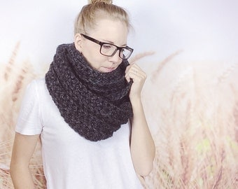 Chunky Crochet Infinity Scarf, Womens Fashion, Winter Fashion, Oversized Scarf, Circle Scarf, Crochet Scarf, Loop Scarf - {CHARCOAL}