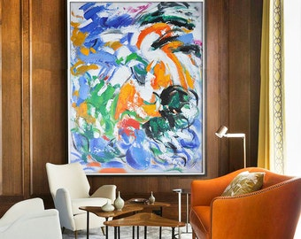 Contemporary Wall Art, Large Art Abstract Painting, Modern Wall Decor. Original and Handmade. Blue, yellow, orange, red, green, etc.