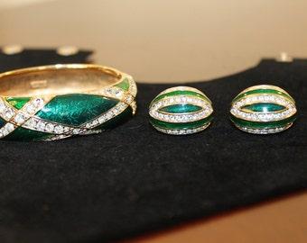 S.A.L. Swarovski Crystal Bangle Bracelet and Matching Clip Earrings -  Emerald Green Enamel – 1980's